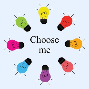 Color light bulbs in a circle around the words choose me.