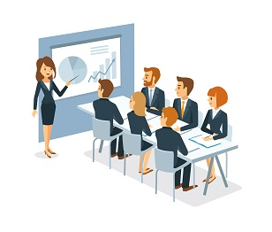 illustration of female CEO presenting dashboard metrics to board of directors