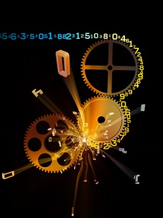 Digital image of numbers being crunched by gears
