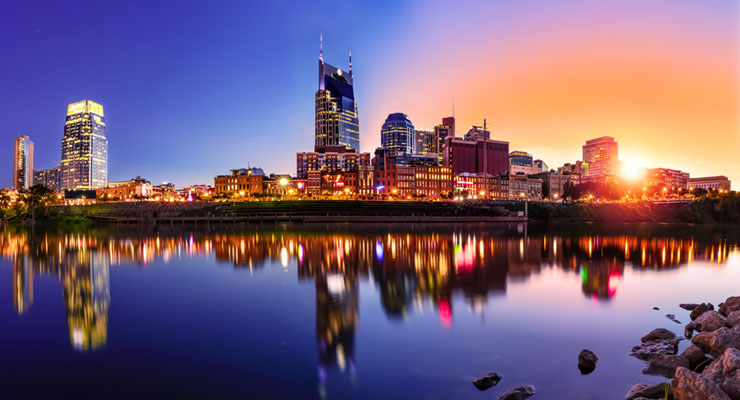 View of Nashville skyline at night. CUES Supervisory Committee Development Seminar will be held in Nashville.