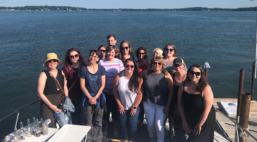 CUES staff team bonding on a boat