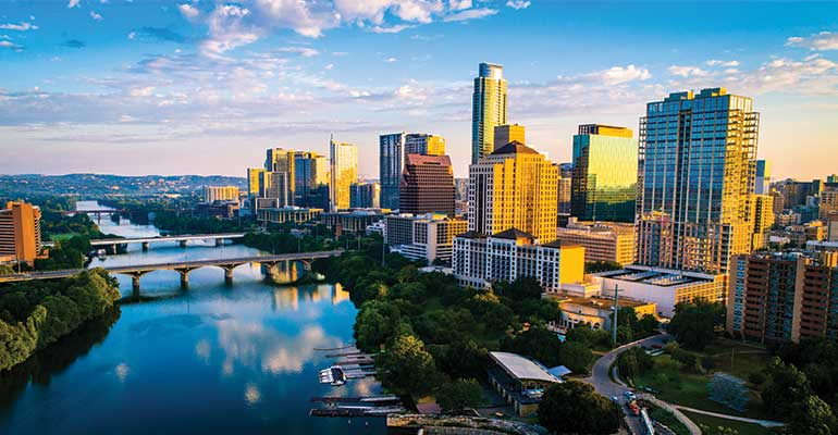 Skyline of Austin, Texas.  Site of the 2020 CUES CEO/Executive Team Network