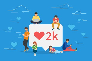"Illustration of young people using mobile gadgets gathered around a giant social media bubble containing a read heart icon and ""2k"""