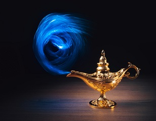 genie lamp with smoke escaping