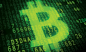 Bitcoin icon over binary code