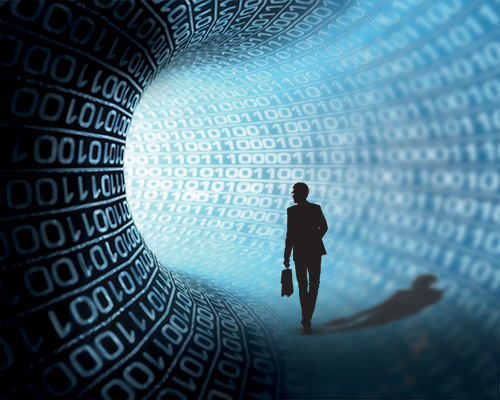 Man walks in a tunnel of data