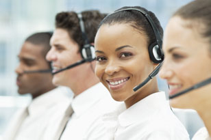 smiling call center employee