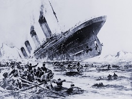 Sinking of the ocean liner the Titanic witnessed by survivors in lifeboats.