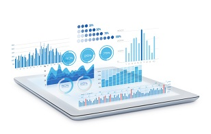 Marketing analytics data hovering over a tablet PC