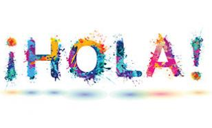 "Graphic of ""¡HOLA!"" written in colorful paint splatters"
